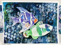 Note Cards made by @karenlizh  using new Aquarium stencils by @carmenmedlinart