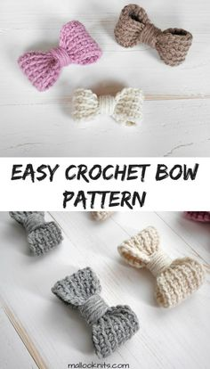Make these adorable crochet bows, add an elastic band and make them a hair tie for your little girl or add them to a headband. Two sizes included and it is easily customisable. Crochet Bows Free Pattern, Crochet Bow Ties, Crochet Hair Bows, Crochet Puff Flower, Crochet Embellishments, Crochet Hair Accessories, Crochet Headband Pattern, Crochet Flower Patterns, Crochet Hair Styles