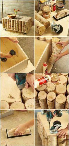 Anleitung zum Bau eines Birkenstamm Couchtisches                              …