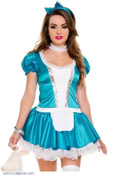 188c7eb354 2014 fairy tale story Halloween new sexy witty maid maid blue uniforms