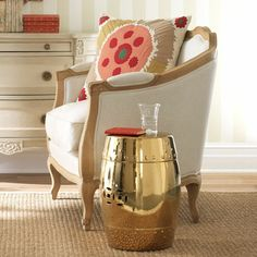Gold Chinese Garden Stool   Add A Touch Of The Orient With The Metallic Hue  Of
