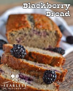 Blackberry or Raspberry Bread from My Fearless Kitchen. Make this quick and easy Blackberry Bread recipe with fresh summer blackberries, or use frozen blackberries to get a taste of summer any time of the year! Blackberry Recipes Easy, Blackberry Bread, Blackberry Dessert, Raspberry Bread, Fruit Recipes, Dessert Recipes, Blackberry Recipes Breakfast, Blueberry, Desert Recipes