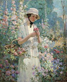 The Athenaeum - Woman with Flower Basket (Abbott Fuller Graves - )  -  USA