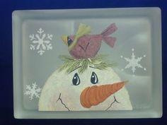 Designs by Cheryl Skalski-Hand Painted Glass Blocks Christmas Glass Blocks, Christmas Signs, Christmas Art, Painted Glass Blocks, Lighted Glass Blocks, Hand Painted, Block Painting, Tole Painting, Glass Block Crafts