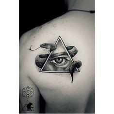 - T H E A L L S E E I N G - 🔺🐍 #thanksforlooking #jonathanescoart 😊 #tattoos #tattoo #black #blacktattoos #blackwork…