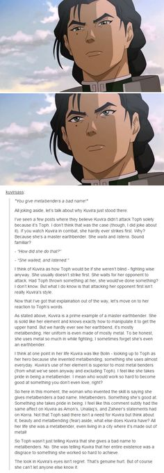 Kuvira has more going for her than beauty and metalbending but I agree with everything else on this post!!