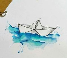 Paper boat in watercolour waters