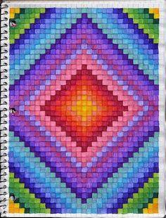 Fotos En Graph Paper Art Graph Paper Drawings, Graph Paper Art, Pixel Drawing, Mandala Drawing, Cross Stitch Patterns, Quilt Patterns, Dibujos Zentangle Art, Graph Paper Notebook, Bargello Quilts