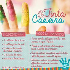 Receita para fazer tinta caseira Toy Express, Au Pair, Reggio Emilia, Paper Toys, Infant Activities, Happy Kids, Mom And Baby, Children, Diy