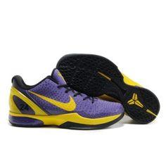 nike zoom kobe vi 6 purple yellow basketball shoes no.8854