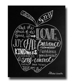 Galations 5:22-23 Fruit of the Spirit Scripture Art Chalk Art Print Chalk Typography Chalk Hand Lettering Chalkboard Art Bible Verse Art on Etsy, $17.00