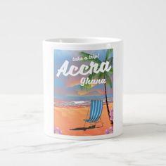 #Accra Ghana beach travel poster Large Coffee Mug - #beach #travel #beachlife