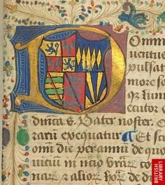 Decorated initial incorporating heraldic arms, at the beginning of a Breviary. Origin:England