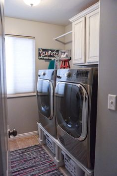 Cabinet idea front loaders with pedestal and cabinets Laundry