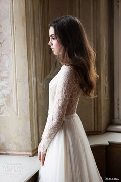 daalarna 2014 bridal long sleeve lace bodice wedding dress side view This site has every kind of dress I love!