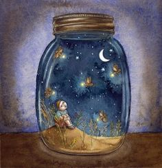 """Dreamland in a Jar"", illustration by unknown author Art And Illustration, Illustrations, Sun Moon Stars, Sun And Stars, Fantasy Kunst, Fantasy Art, Art Fantaisiste, Good Night Moon, Night Jar"