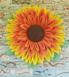 Your place to buy and sell all things handmade Burlap Flower Wreaths, Sunflower Wreaths, Deco Mesh Wreaths, Black Eyed Susan, Topiary Centerpieces, Poppy Wreath, Fall Deco Mesh, Acrylic Painting Flowers, Sunflower Pattern
