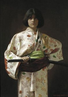 Fantasie Charles Sprague Pearce (1851-1914) ca. 1883 Oil on canvas  In a playful gender reversal, which is highlighted by the painting's title, Pearce costumed his androgynous model in a woman's kimono, producing an ambiguity that viewers found fascinating. Pennsylvania Academy of Fine Arts