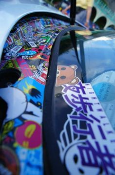 NA Miata Sticker-bombed Window Cowl
