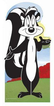 Our cardboard cutout of the romantic skunk, Pepe Le Pew from Looney Tunes. This French skunk always falls for a female feline that gets a white stripe painted on her to resemble a skunk. Pepe never gives up in his persuit for love. Classic Cartoon Characters, Favorite Cartoon Character, Cartoon Tv, Classic Cartoons, Vintage Cartoon, Cartoon Shows, Disney Characters, Good Cartoons, Looney Tunes Cartoons