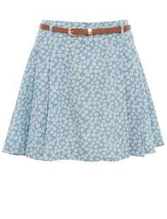 Parisian Light Blue Pleated Belted Daisy Print Skirt