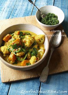 roasted pumpkin, cauliflower & spinach curry