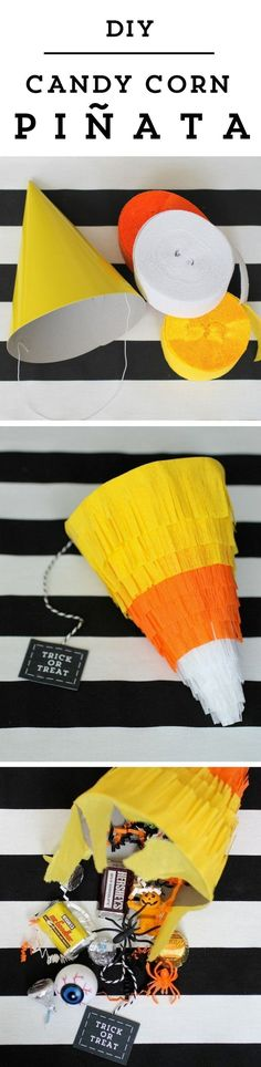 This diy candy corn pinata for halloween is sure to be a smash at your party! Make sure to watch the video tutorial for this project as well.