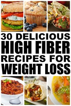 If you're looking for ways to incorporate more fiber into your diet to help you full feel and help you lose weight check out this collection of quick easy and delicious high fiber meals for weight loss. I've included options for breakfast lunch and d Fiber Diet, Fiber Rich Foods, High Fiber Foods, High Fiber Recipes, High Fiber Snacks, Healthy Snacks, Healthy Eating, Healthy Recipes, Healthy Tips