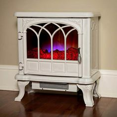 Duraflame 550 Cream Electric Fireplace Stove with Remote Control - White Fireplace, Stove Fireplace, Fireplace Ideas, Electric Fires, Electric Stove, Duraflame Electric Fireplace, Electric Fireplaces, Three Season Room, Traditional Fireplace