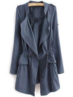 $20.02 Epaulet Drawstring Coat - BLUE GRAY M