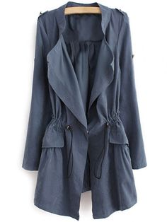 $20.02 Epaulet Drawstring Coat - BLUE GRAY M