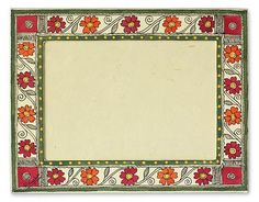 Madhubani photo frame, 'Flowers of Bihar' (5x7) by NOVICA