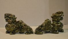 """2 x HAND CARVED SOLID JADE FOO DOGS FOR GUARDIAN 10""""L x 7""""H x 3""""W"""