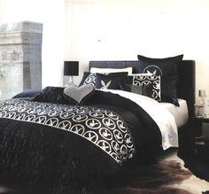 PLAYBOY BUNNY Royale Black/Silver Foil/Diamante trim QUEEN Quilt/Doona Cover Set