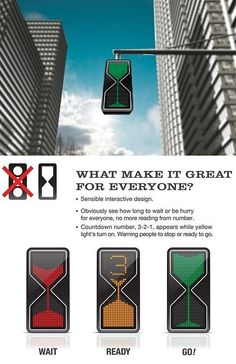 Hourglass traffic light/ this would be awesome when driving!
