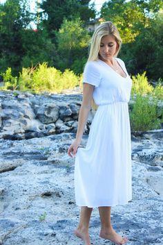 White summer modest dress