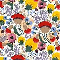 Marimekko fabrics - Buy online from Finnish Design Shop. Discover Unikko and other Marimekko fabrics for a modern home! Textile Patterns, Textile Design, Print Patterns, Floral Patterns, Linen Fabric, Cotton Fabric, Fabric Art, Marimekko Fabric, Scandinavia Design