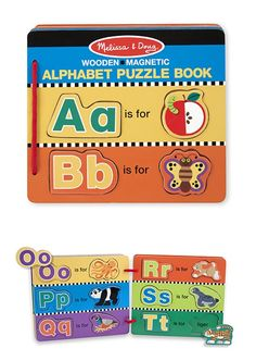 "Every page of this magnetic book with removable pieces is ""bound"" to amuse and educate! Under each piece is either the matching upper and lower case letters or the name of the ""attractive"" object on the picture."