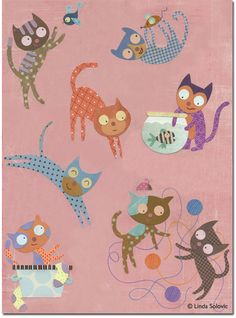 Santoro London Eight Playing Cats Greeting Card by Linda Solovic, via Behance