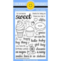 Sunny Studio Stamps Sweet Shoppe 4x6 Ice Cream, Cupcake & Donut Photo-Polymer Clear Stamp Set $14.99