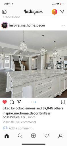 Marble countertops/white cabinets Kitchen Island, Interior Design, Home Decor, Nest Design, Homemade Home Decor, Floating Kitchen Island, Interior Designing, Home Interior Design, Decoration Home