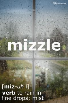 as opposed to drizzle, which is to rain lightly, mizzle is more of a misty rain. drizzle can mean in patches, where drizzle is a more uniform description of the rain