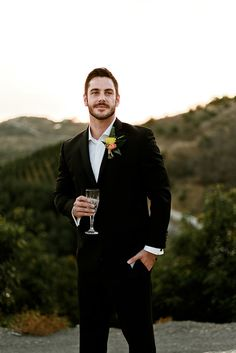Today's retro tropics inspired elopement from Alexes Lauren Photographytook place at a private estate overlooking the orange groves of California. Groom Outfit, Groom Attire, Wedding Attire, Boho Wedding, Groom And Groomsmen Style, Bride Book, Wedding Pinterest, Father Of The Bride, Wedding Styles