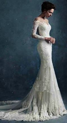 Charming Sheer Scoop Neck Lace Mermaid Wedding Dress with Long Sleeves
