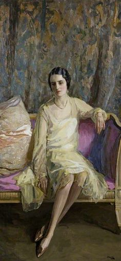 Eileen in Primrose Yellow (1926).John Lavery (Irish 1856-1941). Oil on canvas. Ulster Museum.Eileen  (later Lady Sempill, 1890-1935)was Lavery's daughter from his first marriage, and she appeared in a number of his paintings. In this painting, Eileen is elegantly posed but there is a sense of warmth and intimacy that differentiates this work from society portraits.