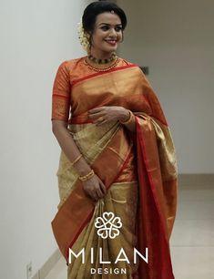 Bridal Silk Saree, Saree Wedding, Kids Dress Collection, Saree Collection, Kanjipuram Saree, Fancy Sarees Party Wear, Off White Saree, Pattu Saree Blouse Designs, Modern Saree