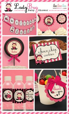 Pink Ladybug Baby Shower Party Package Personalized by leelaaloo, $20.00