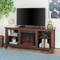 Walker Edison Furniture Co. 58 in. Wood TV Stand Console w/ Fireplace - in Brown, Transitional Fireplace Furniture, Wood Fireplace, Wooden Furniture, Fireplaces, Plans Loft, Jennifer L Armentrout, Electric Fireplace Tv Stand, Tv Stand With Fireplace, Corner Tv Stands