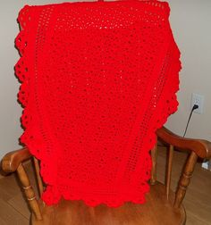 Baby Afghan Crocheted in Red Free Shipping in by TheNeedleHouse, $45.00