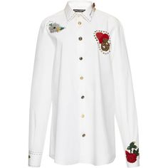 Dolce & Gabbana Long Sleeve Shirt with Patches (45.314.440 VND) ❤ liked on Polyvore featuring tops, white, relax shirt, patch shirt, long-sleeve shirt, relaxed fit shirt and white top
